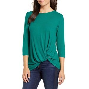 Gibson Evergreen Twist Front sweater 3/4 sleeve M